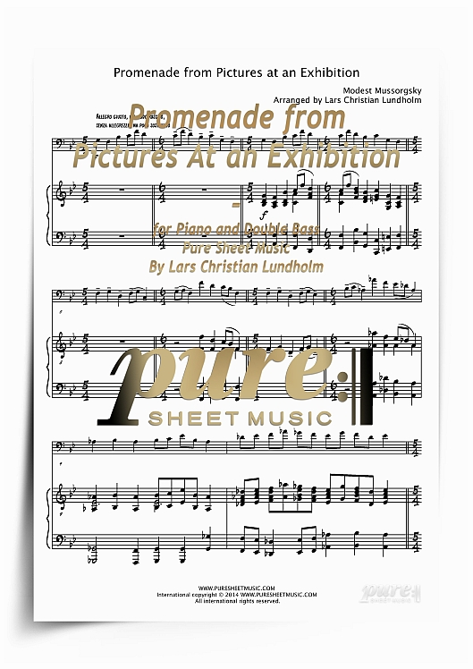 Promenade from Pictures At an Exhibition for Piano and Double Bass (PDF  file), Pure Sheet Music arranged by Lars Christian Lundholm
