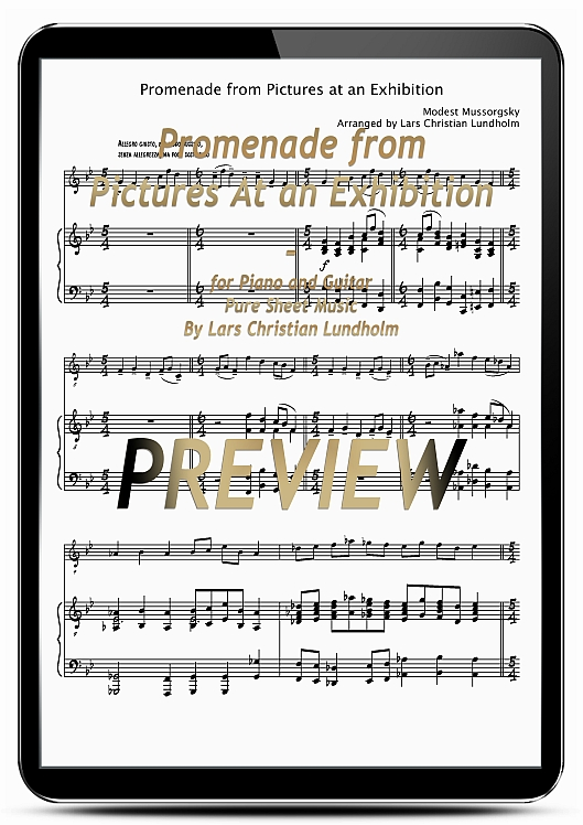 Pay for Promenade from Pictures At an Exhibition for Piano and Guitar (EPUB file), Pure Sheet Music as Ebook arranged by Lars Christian Lundholm