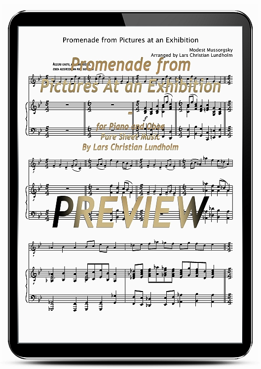Pay for Promenade from Pictures At an Exhibition for Piano and Oboe (EPUB file), Pure Sheet Music as Ebook arranged by Lars Christian Lundholm