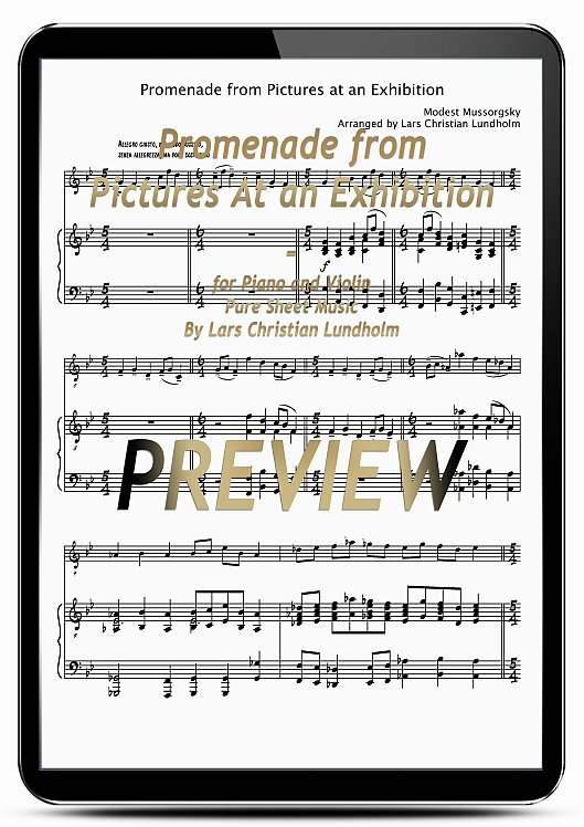 Pay for Promenade from Pictures At an Exhibition for Piano and Violin (EPUB file), Pure Sheet Music as Ebook arranged by Lars Christian Lundholm