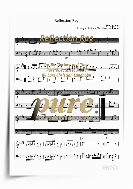 Pay for Reflection Rag for Bb Clarinet and Tuba (PDF file), Pure Sheet Music arranged by Lars Christian Lundholm