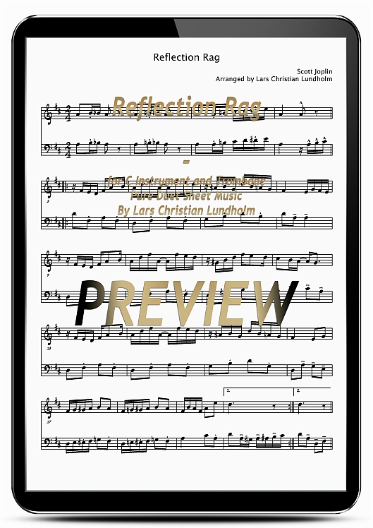 Pay for Reflection Rag for C Instrument and Trombone (EPUB file), Pure Sheet Music as Ebook arranged by Lars Christian Lundholm