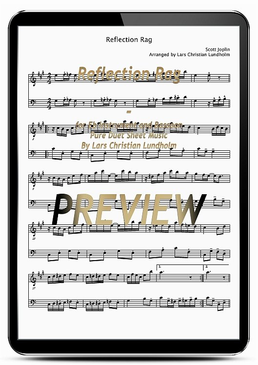 Pay for Reflection Rag for Eb Instrument and Bassoon (EPUB file), Pure Sheet Music as Ebook arranged by Lars Christian Lundholm