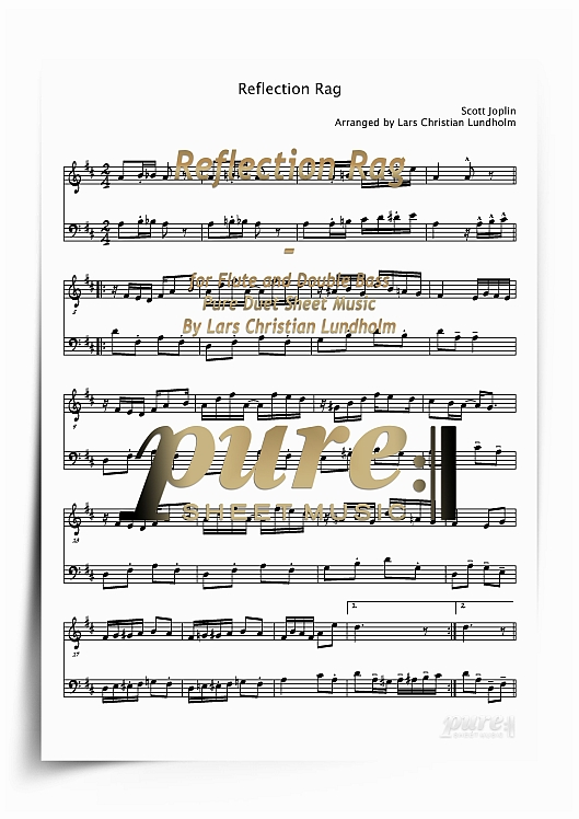 Reflection Rag for Flute and Double Bass (PDF file), Pure Sheet Music  arranged by Lars Christian Lundholm