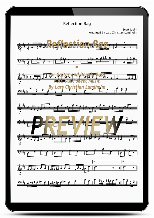 Pay for Reflection Rag for Guitar and Double Bass (EPUB file), Pure Sheet Music as Ebook arranged by Lars Christian Lundholm