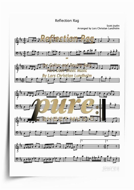 Reflection Rag For Guitar And Double Bass Pdf File Pure Sheet Music Arranged By Lars Christian Lundholm