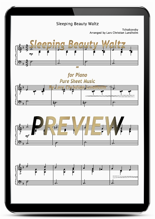 Pay for Sleeping Beauty Waltz for Piano (EPUB file), Pure Sheet Music as Ebook arranged by Lars Christian Lundholm