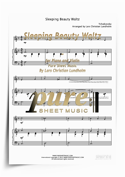 Pay for Sleeping Beauty Waltz for Piano and Violin (PDF file), Pure Sheet Music arranged by Lars Christian Lundholm