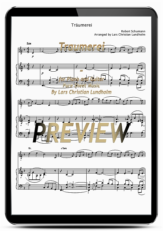 Pay for Traumerei for Piano and Guitar (EPUB file), Pure Sheet Music as Ebook arranged by Lars Christian Lundholm