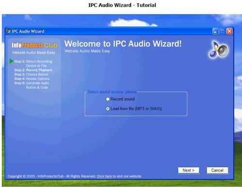 Pay for New IPC Audio Wizard ---Add Audio To Your Website In 5 Minutues