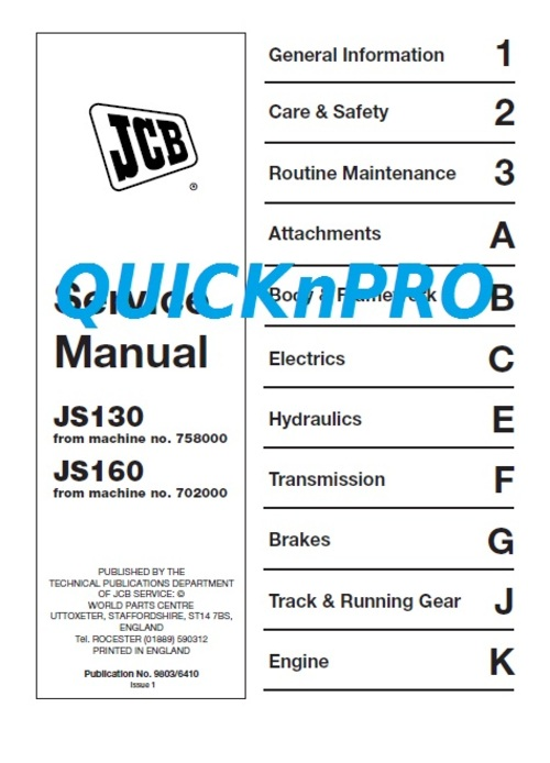 Pay for JCB JS 130 160 JS130 JS160 Tracked Excavator Repair Manual