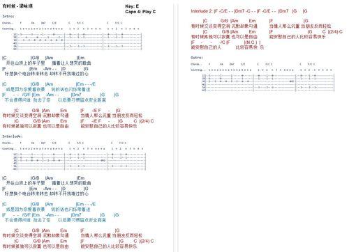 Pay for You Shi Hou - Gigi Leung Chordsheet (有时候 - 梁咏琪 吉他谱)