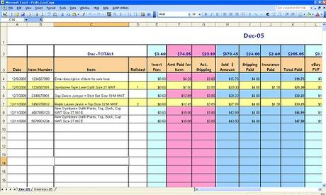 australia ebay profit loss spreadsheet download business