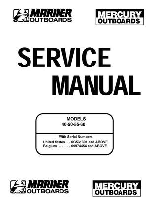 Pay for Mercury Mariner 40 50 55 60HP Service Manual 2 Stroke