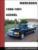Thumbnail Mercedes-Benz 420SEL w126 1986-1991 Factory WORKSHOP Service manual