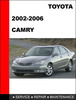 Thumbnail Camry 2002 to 2006 Factory workshop Service Repair Manual