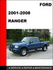 Thumbnail Ford Ranger 2001 to 2008 Factory workshop Service Repair manual