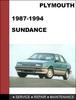 Thumbnail Plymouth Sundance 1987-1994 Factory service Workshop repair Manual