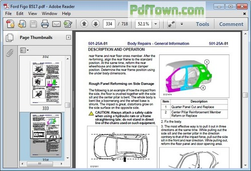 ford fiesta body  paint repair manual