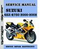 Thumbnail Suzuki GSX-R750 2000-2002 Service Repair Manual Pdf Download