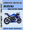 Thumbnail Suzuki GSX-R750 2008 Service Repair Manual Pdf Download
