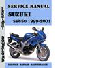 Thumbnail Suzuki SV650 1999-2001 Service Repair Manual Pdf Download
