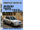 Thumbnail Suzuki Baleno SY413-416-418 1995-2001 Service Repair Manual