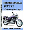 Thumbnail Suzuki VX800 1990-1993 Service Repair Manual Pdf Download