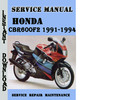 Thumbnail Honda CBR600F2 1991-1994 Service Repair Manual Pdf Download