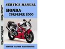 Thumbnail Honda CBR929RR 2000 Service Repair Manual Pdf Download