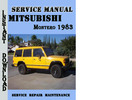 Thumbnail Mitsubishi Montero 1983 Service Repair Mnaual Pdf Download
