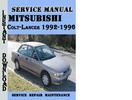 Thumbnail Mitsubishi Colt-Lancer 1992-1996 Service Repair Manual