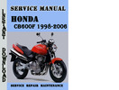 Thumbnail Honda CB600f 1998-2006 Service Repair Manual Pdf Download
