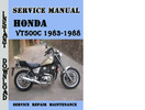 Thumbnail Honda VT500C 1983-1988 Service Repair Manual Pdf Download