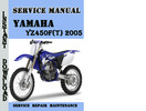Thumbnail Yamaha YZ450F(T) 2005 Service Repair Manual Pdf Download