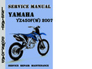 Thumbnail Yamaha YZ450F(W) 2007 Service Repair Manual Pdf Download