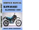 Thumbnail Kawasaki KLX650(R) 1993 Service Repair Manual Pdf Download