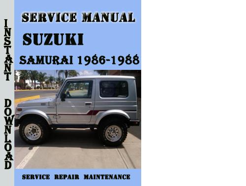 suzuki samurai 1986 1988 service repair manual pdf download downl rh tradebit com 1988 Suzuki Samurai Red 1988 Suzuki Samurai JX 4x4