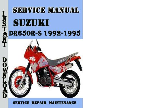 Suzuki Dr650r-s 1992-1995 Service Repair Manual Pdf Download