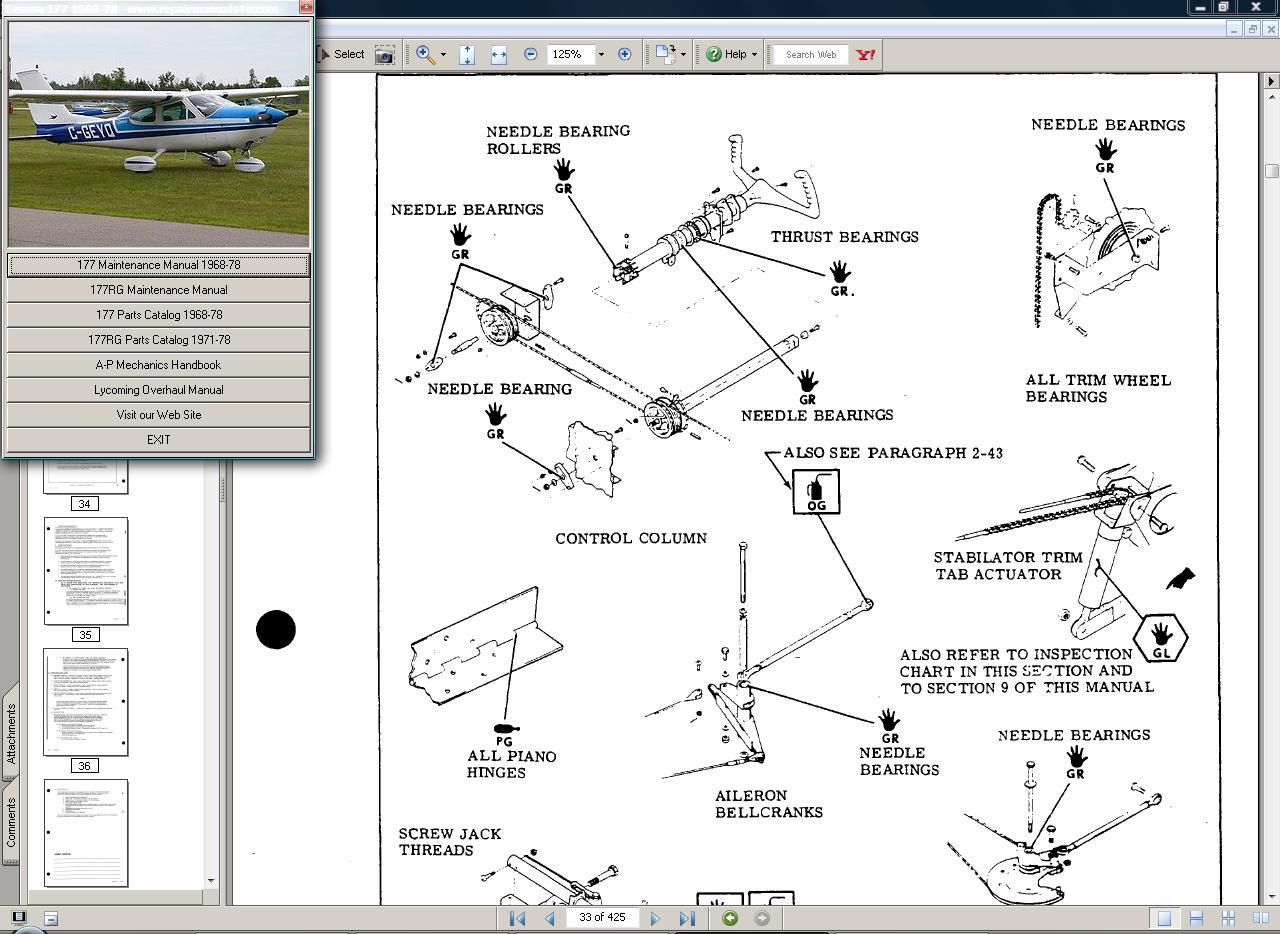 Thumbnail Cessna  177 manual set + engine 1968-78