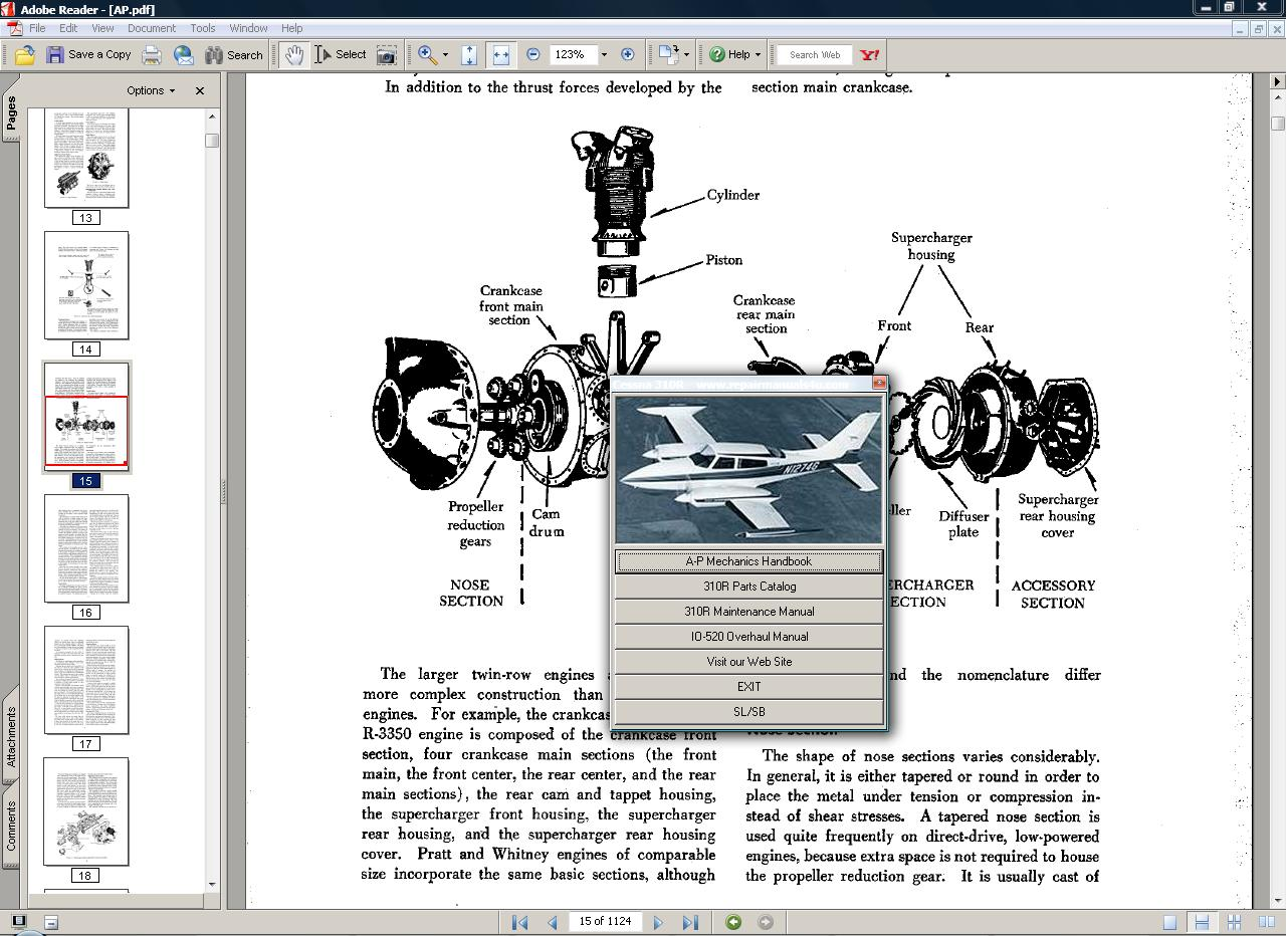 Thumbnail Cessna 310 R service manual set + engine 1975-81