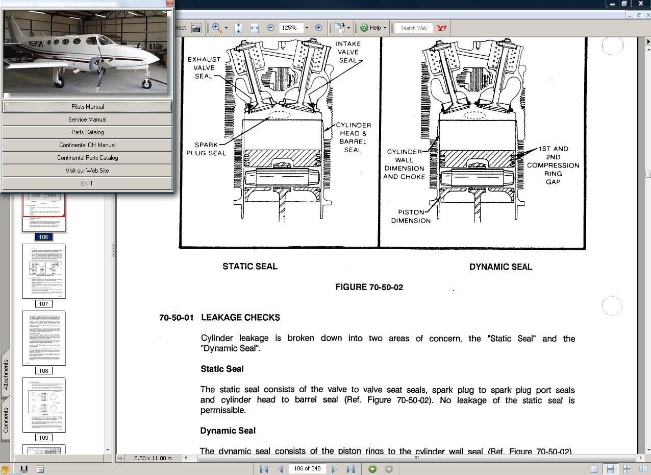 Thumbnail Cessna 340  service manual set + engine