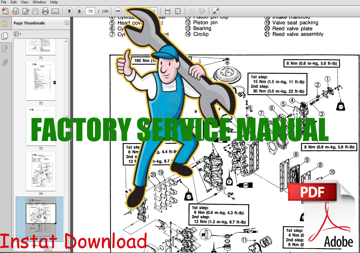 Thumbnail Mercury 4 stroke service repair manual 8 & 9.9 1996-99