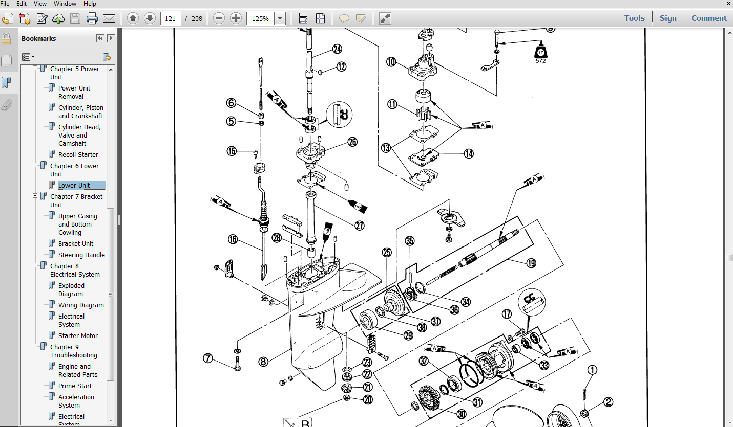 Thumbnail 1996 Yamaha L130TXRU Outboard service repair maintenance manual. Factory
