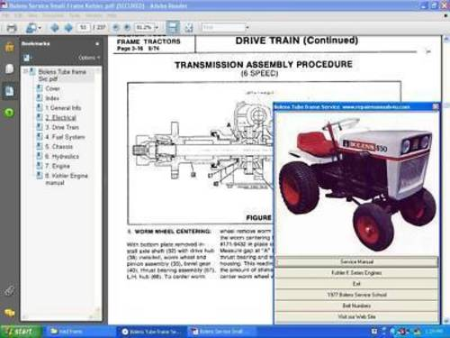 Pay for Bolens XL tractor service repair manual