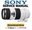 Thumbnail SONY SAL70200G 70 200mm F2.8 G Service Manual Repair Guide