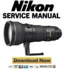 Thumbnail Nikon AF-S Nikkor 400mm f 2.8g VR ED Service Manual + Parts List Catalog