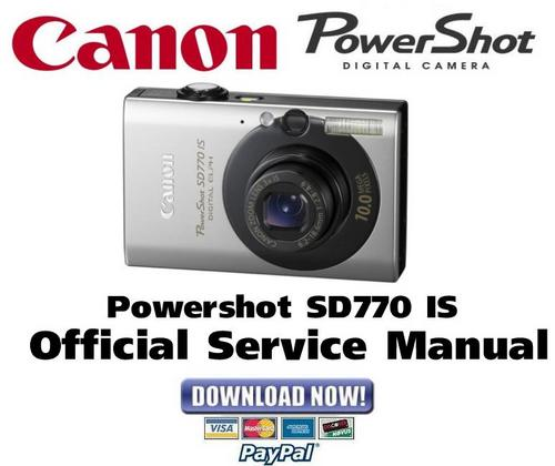 Pay for Canon PowerShot SD770 IS Service Manual & Repair Guide