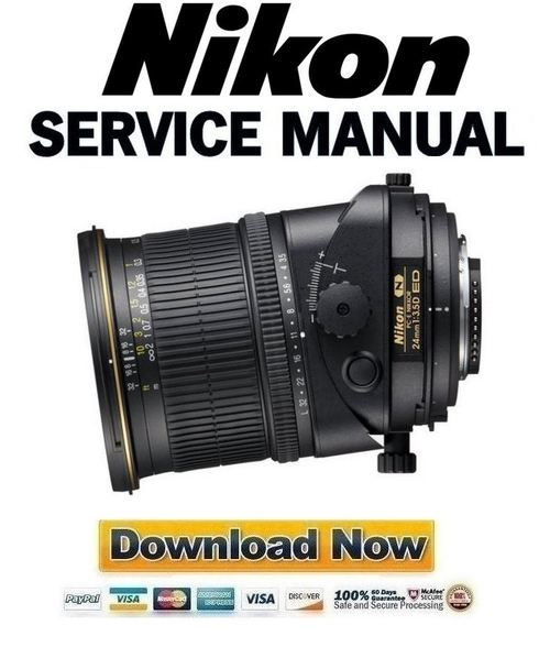 Pay for Nikon PC-E Nikkor 24mm f 3.5D ED Service Manual Repair Guide