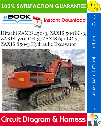 Thumbnail ☆☆ Best ☆☆ Hitachi ZAXIS 450-3, ZAXIS 500LC-3, ZAXIS 520LCH-3, ZAXIS 650LC-3, ZAXIS 850-3 Hydraulic Excavator Circuit Diagram & Harness